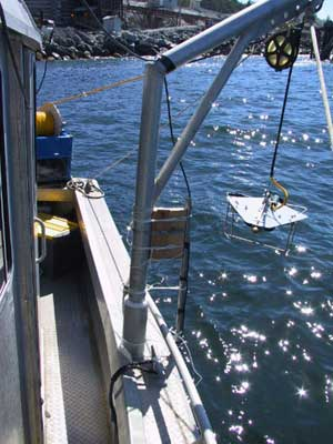 A.G.O. custom-designed Arrow-2 towed body launched using a CSW-6 portable winch. The Arrow-2 is equipped with an underwater camera and light system manufactured by A.G.O. (Photo courtesy of Coastal & Ocean Resources Inc.)